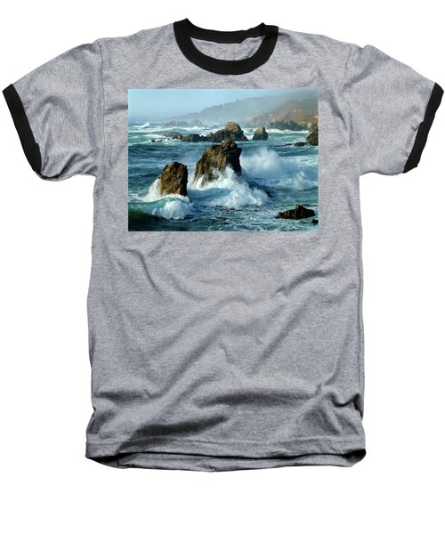 Big Sur Winter Wave Action Baseball T-Shirt by Amelia Racca