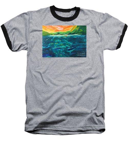Big Tropical Wave Baseball T-Shirt
