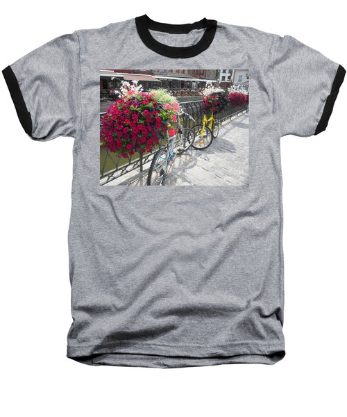 Bike And Flowers Baseball T-Shirt by Therese Alcorn