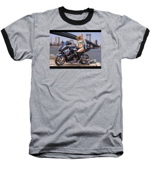 Baseball T-Shirt featuring the photograph Bike, Babe, And Bridge In The Big Apple by Lawrence Christopher