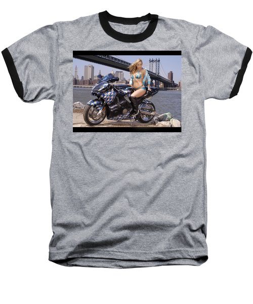 Bike, Babe, And Bridge In The Big Apple Baseball T-Shirt