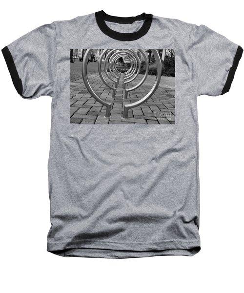 Bike Rack Black And White Version Baseball T-Shirt by John S