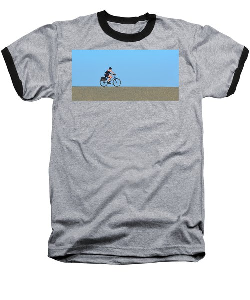 Bike Rider On Levee Baseball T-Shirt