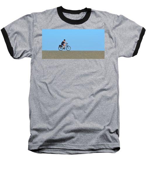 Bike Rider On Levee Baseball T-Shirt by Josephine Buschman