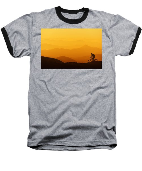 Biker Riding On Mountain Silhouettes Background Baseball T-Shirt