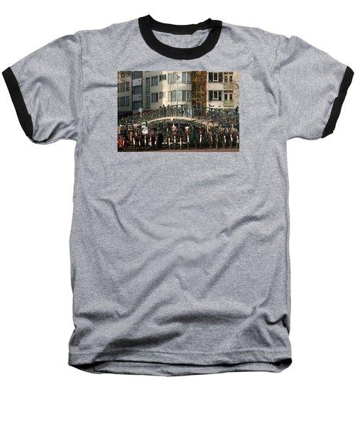 Bikes Bridge And Bird Baseball T-Shirt