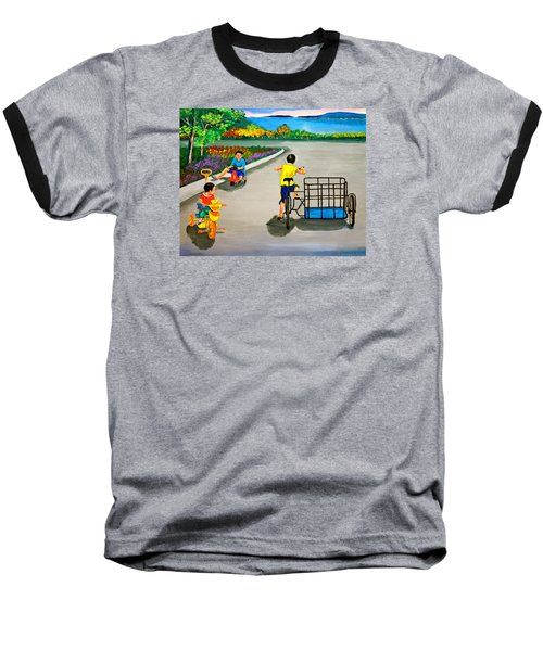 Baseball T-Shirt featuring the painting Bikes by Cyril Maza