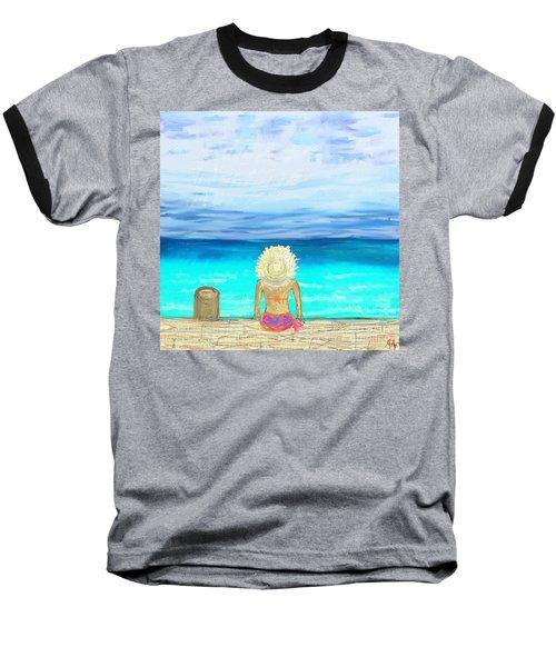 Bikini On The Pier Baseball T-Shirt by Jeremy Aiyadurai