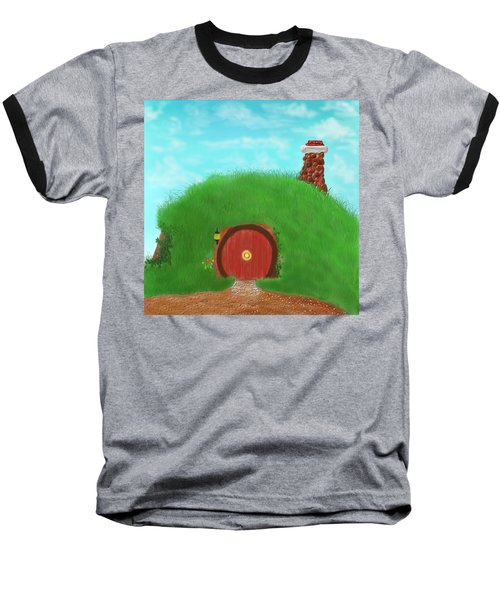 Baseball T-Shirt featuring the painting Bilbo's Home In The  Shire by Kevin Caudill