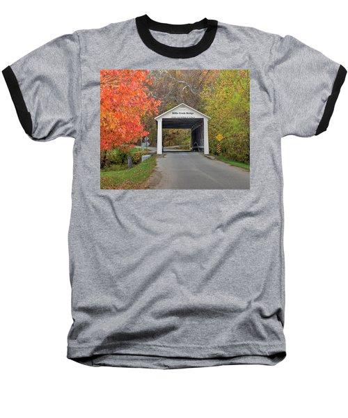 Billie Creek Covered Bridge Baseball T-Shirt by Harold Rau