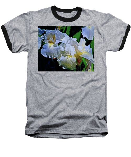 Baseball T-Shirt featuring the mixed media Billowing White Irises by Lynda Lehmann