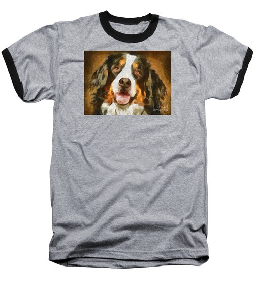 Baseball T-Shirt featuring the painting Bimbo - Bernese Mountain Dog by Dragica  Micki Fortuna