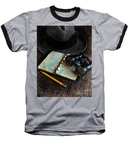 Binoculars Fedora And Notebook Baseball T-Shirt
