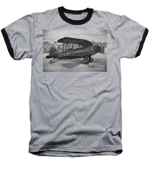 Biplane In Black And White Baseball T-Shirt by Megan Cohen