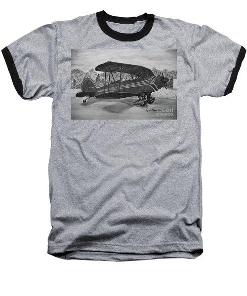 Biplane In Black And White Baseball T-Shirt