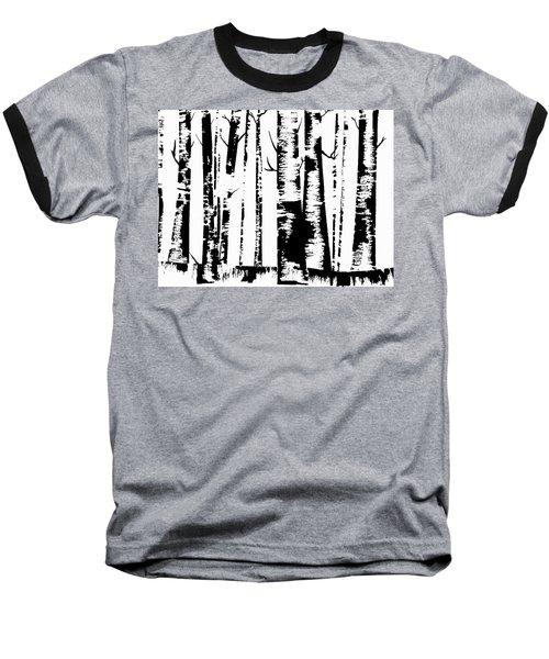 Birch Forest Black Baseball T-Shirt