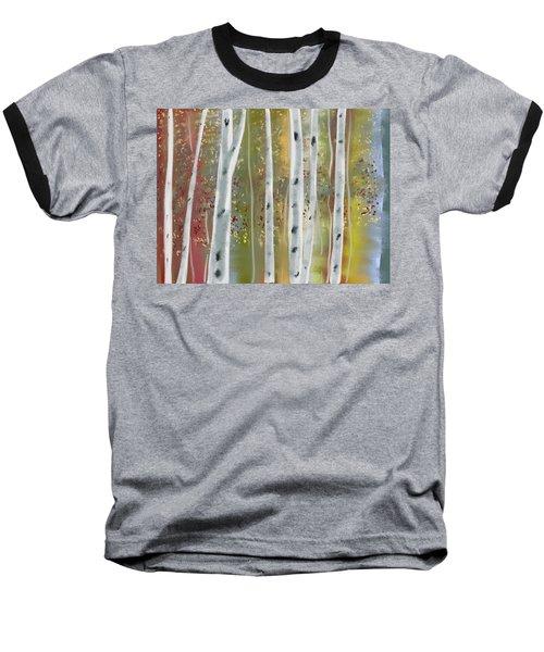 Baseball T-Shirt featuring the digital art Birch Forest by Paula Brown