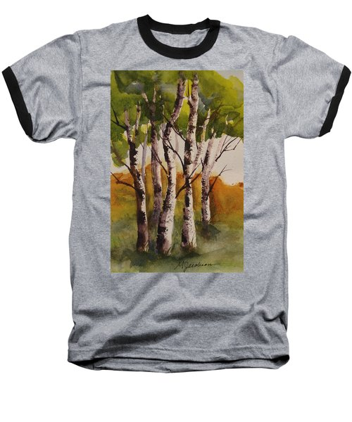 Baseball T-Shirt featuring the painting Birch by Marilyn Jacobson
