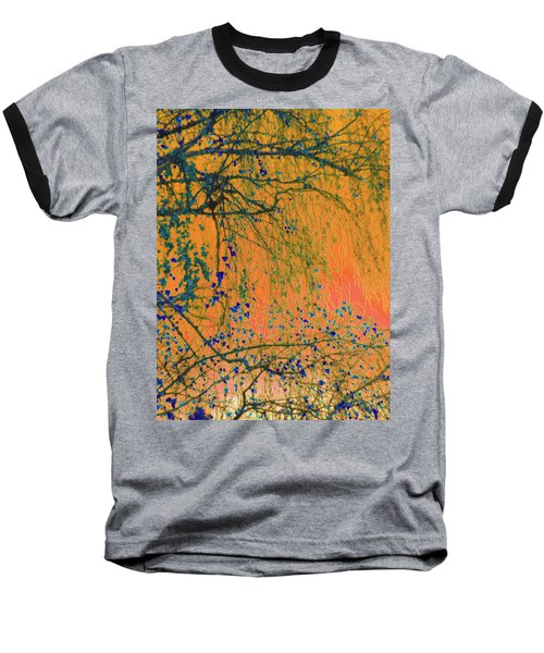 Birch Tree And Orange Sky - Winter Baseball T-Shirt