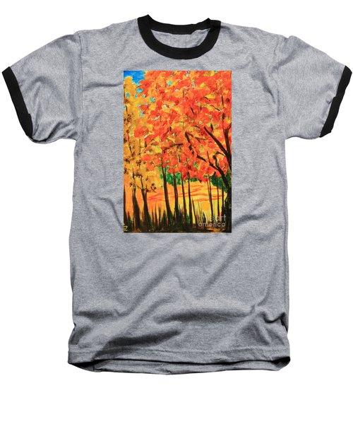 Baseball T-Shirt featuring the painting Birch Tree /autumn Leaves by Nancy Czejkowski