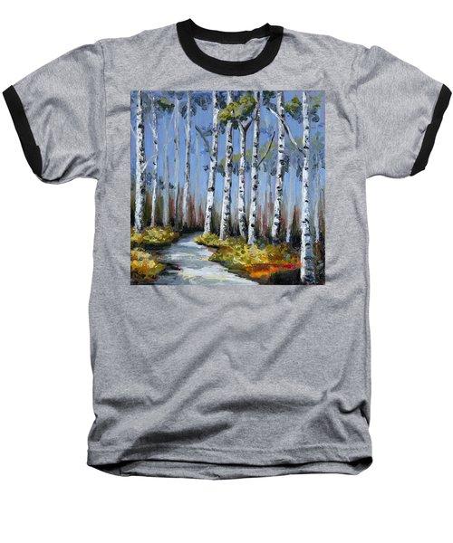 Birch Tree Path Baseball T-Shirt by Trina Teele