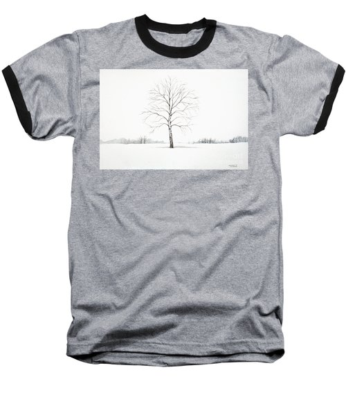 Birch Tree Upon The Winter Plain Baseball T-Shirt