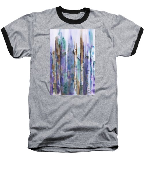 Birch Trees Abstract Baseball T-Shirt by Frank Bright