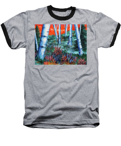 Baseball T-Shirt featuring the painting Birch Trees At Sunset by Curtiss Shaffer
