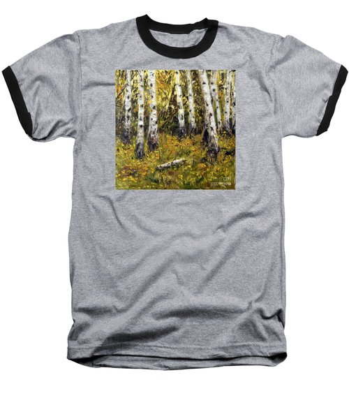 Baseball T-Shirt featuring the painting Birches by Arturas Slapsys