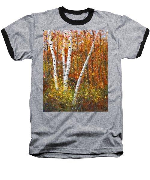 Birches Baseball T-Shirt by Garry McMichael