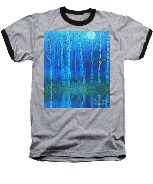 Birches In Moonlight Baseball T-Shirt by Holly Martinson