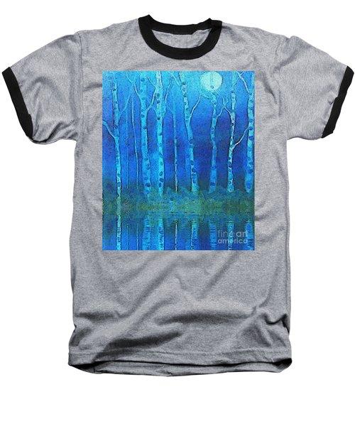 Birches In Moonlight Baseball T-Shirt by Holly Martinson