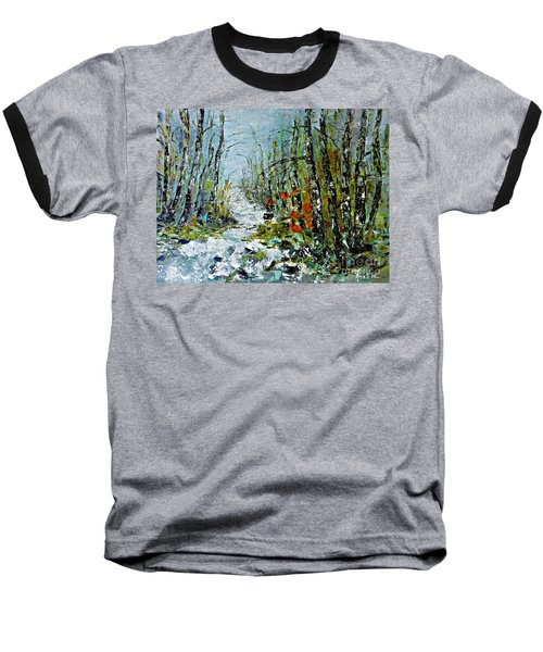 Birches Near Waterfall Baseball T-Shirt