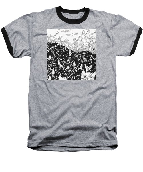 Baseball T-Shirt featuring the painting Bird Convention by Lou Belcher