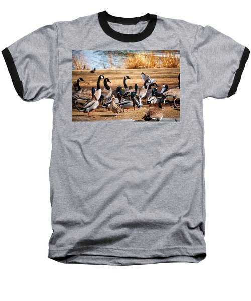 Baseball T-Shirt featuring the photograph Bird Gang Wars by Sumoflam Photography