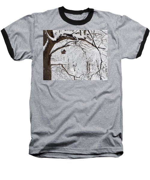 Bird House In Snow Baseball T-Shirt