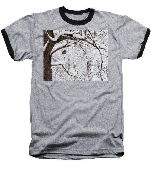 Bird House In Snow Baseball T-Shirt