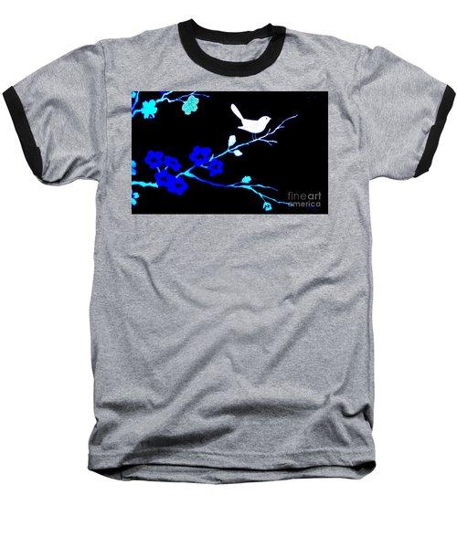 Bird In A Flower Tree Abstract Baseball T-Shirt by Marsha Heiken