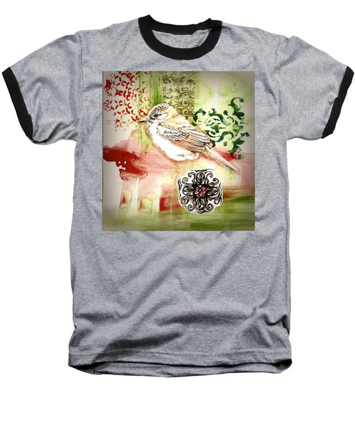 Baseball T-Shirt featuring the mixed media Bird Love by Rose Legge