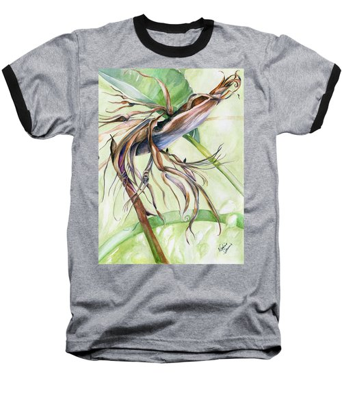 Baseball T-Shirt featuring the painting Bird Of Paradise, A Faded Beauty by Nadine Dennis