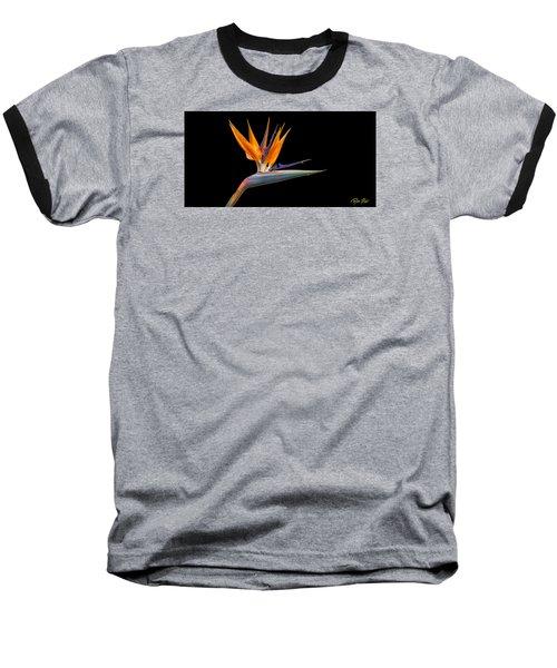 Bird Of Paradise Flower On Black Baseball T-Shirt
