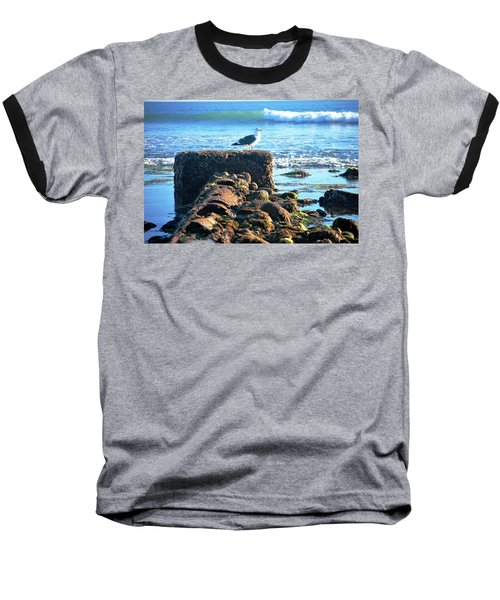 Bird On Perch At Beach Baseball T-Shirt