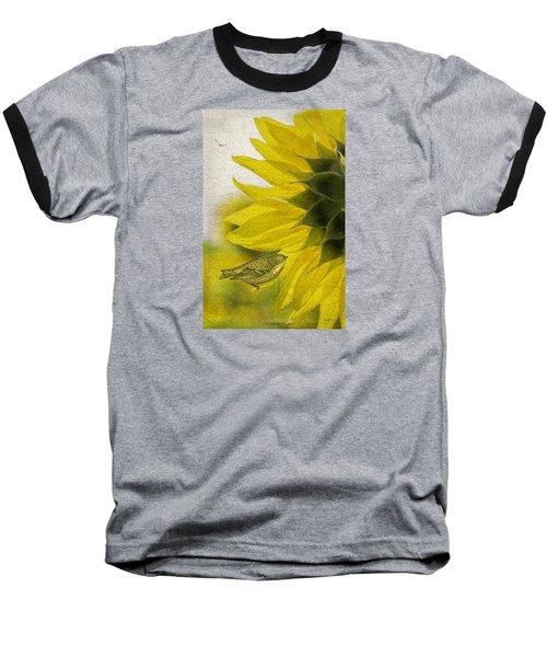 Baseball T-Shirt featuring the photograph Bird On Sunflower by Betty Denise