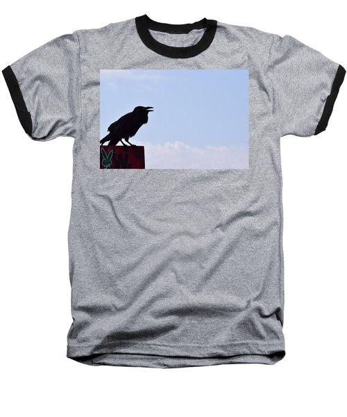 Crow Profile Baseball T-Shirt by Sandy Taylor