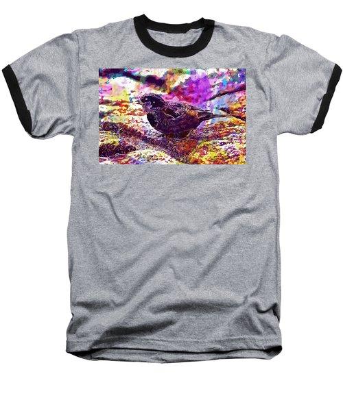 Baseball T-Shirt featuring the digital art Bird The Sparrow Nature Pen  by PixBreak Art