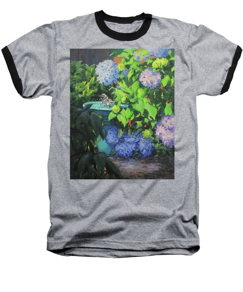 Baseball T-Shirt featuring the painting Birdbath And Blossoms by Karen Ilari