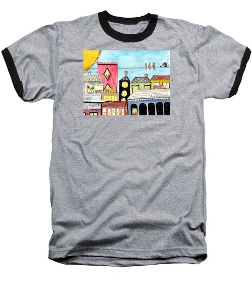 Birds And Mouse On A Wire Baseball T-Shirt by Lou Belcher