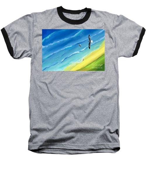 Bird's-eye Above Sea Baseball T-Shirt