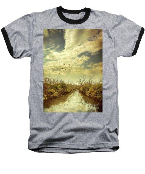 Baseball T-Shirt featuring the photograph Birds Flying Over A River by Jill Battaglia