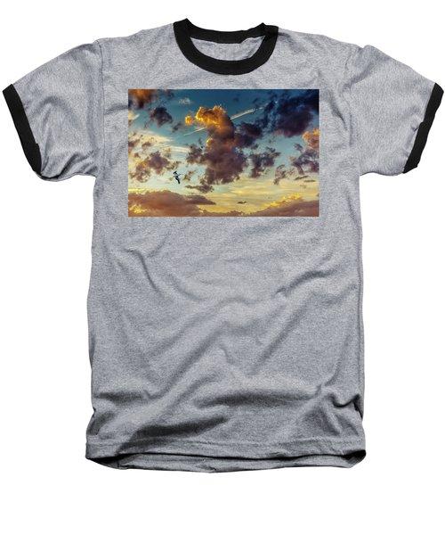 Birds In Flight At Sunset Baseball T-Shirt
